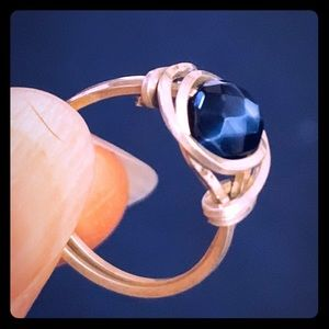 Sterling silver and deep blue bead wrap ring